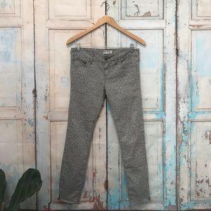 Free People Lace Print Grey Crop Skinny Jeans
